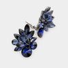 Navy Crystal Leaf Clip On Stud Earrings