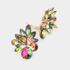 Multi-Color Crystal Leaf Clip On Stud Earrings