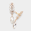 Slim Clear Crystal Rhinestone Pave Clip On Pageant Earrings on Gold