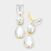 Clear Crystal Triple Drop Geometric Shape Pageant Earrings on Gold  | Prom Earrings | 249187