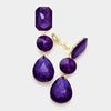 Purple Crystal Triple Drop Geometric Shape Pageant Earrings | Prom Earrings