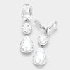 Clear Crystal Triple Drop Geometric Shape Pageant Earrings  | Prom Earrings