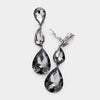 Black Diamond Crystal Triple Teardrop Clip-on Pageant Earrings