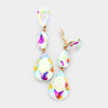 AB Crystal Triple Teardrop Clip-on Pageant Earrings