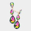 Multi-color Crystal Triple Teardrop Clip-on Pageant Earrings
