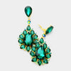 Emerald Teardrop Cluster Dangle Clip On Earrings