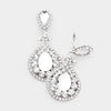 Clear Teardrop Accented Crystal Rhinestone Clip on Earrings