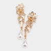 Pearl Marquise Drop Pageant Clip on Earrings on Gold | 463243