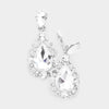Elegant Clear Crystal Teardrop Dangle Clip On Earrings on Silver