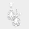 Elegant White Crystal Teardrop Dangle Clip On Earrings