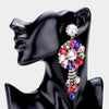 Oversized Mult Color Crystal Drop Pageant Clip On Earrings