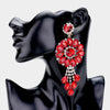 Oversized Red Crystal Drop Pageant Clip On Earrings