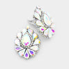 AB Crystal Cluster Teardrop Clip on Earrings