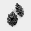 Black Crystal Cluster Teardrop Clip on Earrings
