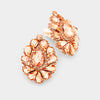 Peach Crystal Cluster Teardrop Clip on Earrings