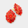Red Crystal Cluster Teardrop Clip on Earrings