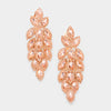Large Peach Crystal Leaf Clip On Earrings