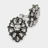 Black Diamond Crystal Flower Clip On Earrings