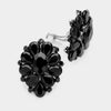 Black Crystal Flower Clip On Earrings