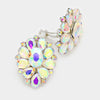 AB Crystal Flower Clip On Earrings