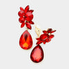 Red Floral Teardrop Crystal Clip on Earrings
