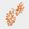 Peach crystal rhinestone clip on earrings on Gold