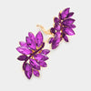 Purple crystal rhinestone clip on earrings on gold