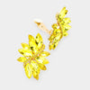 Yellow crystal rhinestone clip on earrings