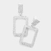 Rhinestone Rectangle Clip-on Earrings on Silver