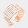 Seven Row Clear Crystal Rhinestone Cuff Bracelet on Rose Gold