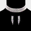 Wide AB Crystal Rhinestone Choker Necklace | Prom Jewelry