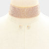 Wide Rhinestone Choker Necklace on Rose Gold /Prom Jewelry  | Pageant Jewelry