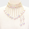 Rhinestone AB Crystal Multi Teardrop Drop Prom Necklace on Gold