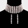 Wide Crystal Rhinestone  Choker Pageant Necklace on Gold