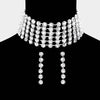 Wide Crystal Rhinestone  Choker Pageant Necklace