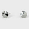 Small Hematite Round Crystal Stud Earrings | 8 mm