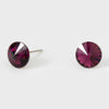Small Amethyst Round Crystal Stud Earrings | 8 mm