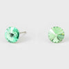 Small Green Round Crystal Stud Earrings | 8 mm