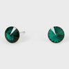 Small Emerald Round Crystal Stud Earrings | 8 mm | 123237