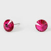 Small Fuchsia Round Crystal Stud Earrings | 8 mm
