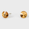 Small Light Topaz Round Crystal Stud Earrings | 8 mm