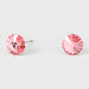 Small Pink Round Crystal Stud Earrings | 8 mm