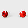 Small Red Round Crystal Stud Earrings | 8 mm