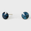 Small Navy Round Crystal Stud Earrings | 8 mm