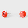 Small Coral Round Crystal Stud Earrings | 8 mm | 123246
