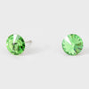 Small Green Round Crystal Stud Earrings | 8 mm | 123247