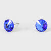 Small Sapphire Round Crystal Stud Earrings | 8 mm