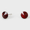 Small Dark Red Round Crystal Stud Earrings | 8 mm | 123250
