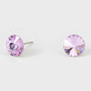 Small Violet Round Crystal Stud Earrings | 8 mm