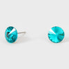 Small Teal Round Crystal Stud Earrings | 8 mm